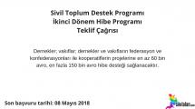Sivil Toplum Destek Programı İkinci Dönem Hibe Programı Teklif Çağrısı