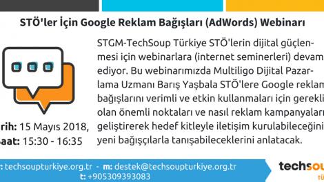 Ücretsiz STÖ'ler İçin Google Reklam Bağışları (AdWords) Webinarı