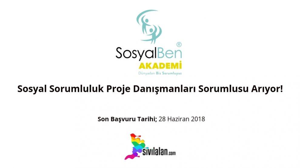 SosyalBen Akademi Sosyal Sorumluluk Proje Danışmanları Sorumlusu Arıyor!