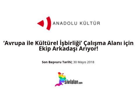 Anadolu Kültür, 'Avrupa ile Kültürel İşbirliği' Çalışma Alanı için Ekip Arkadaşı Arıyor!