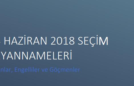 24 Haziran 2018 Seçim Beyannameleri Kadınlar, Engelliler ve Göçmenler