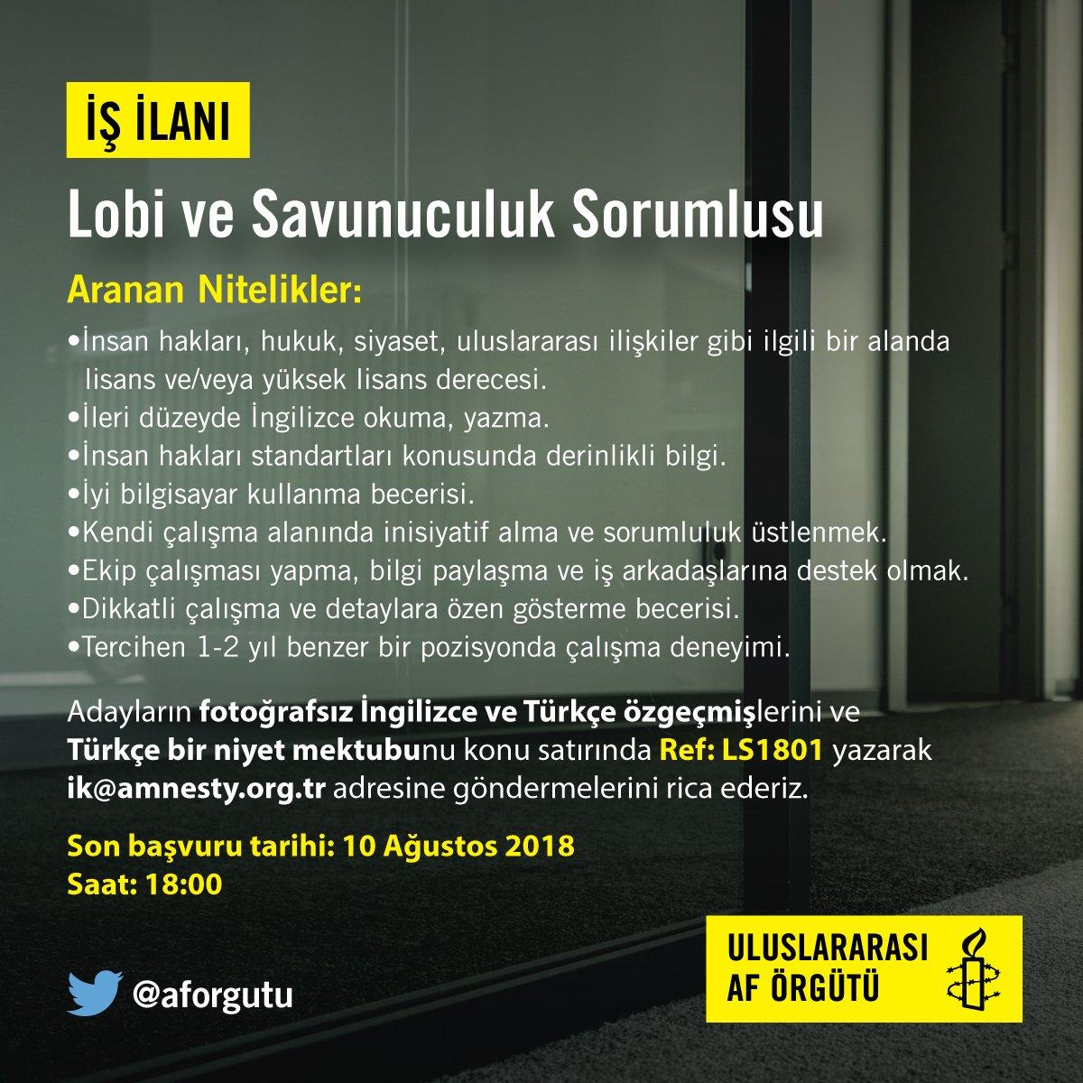 Uluslararası Af ÖrgütüLobi ve Savunuculuk Sorumlusuarıyor!