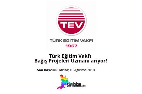 Türk Eğitim Vakfı Bağış Projeleri Uzmanı arıyor!