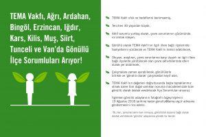 TEMA Vakfı Ağrı, Ardahan, Bingöl, Erzincan, Iğdır, Kars, Kilis, Muş, Siirt, Tunceli ve Van'da Gönüllü İlçe Sorumluları Arıyor!
