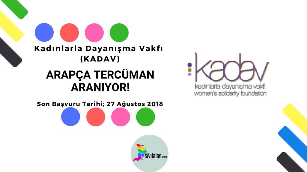 Kadınlarla Dayanışma Vakfı (KADAV) Arapça Tercüman Aranıyor!