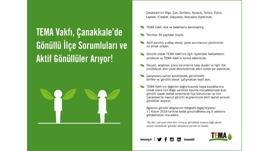 TEMA Vakfı Çanakkale'de Gönüllü İlçe Sorumluları ve Aktif Gönüllüler Arıyor!