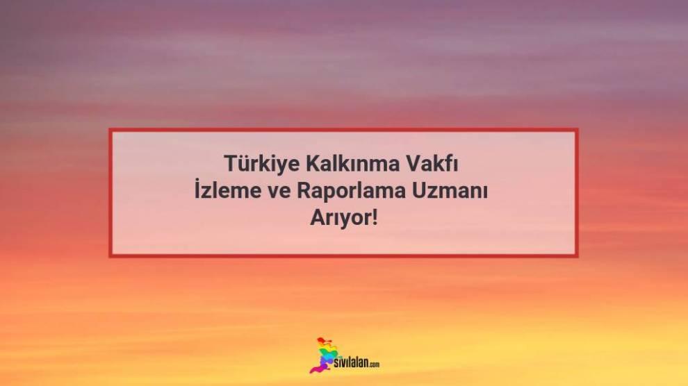 Türkiye Kalkınma Vakfı İzleme ve Raporlama Uzmanı Arıyor!