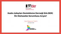 Kadın Adayları Destekleme Derneği (KA.DER) Ön Muhasebe Sorumlusu Arıyor!