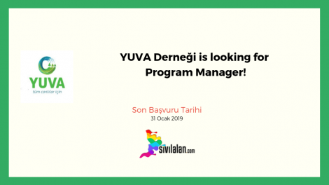 YUVA Derneği is looking for Program Manager!