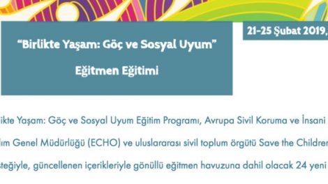 """Yuva Derneği """"Birlikte Yaşam: Göç ve Sosyal Uyum"""" Eğitmen Eğitimi 21-25 Şubat 2019, İstanbul"""