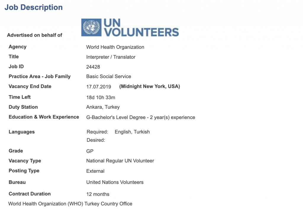 UNV New opportunity- Interpreter / Translator @WHO