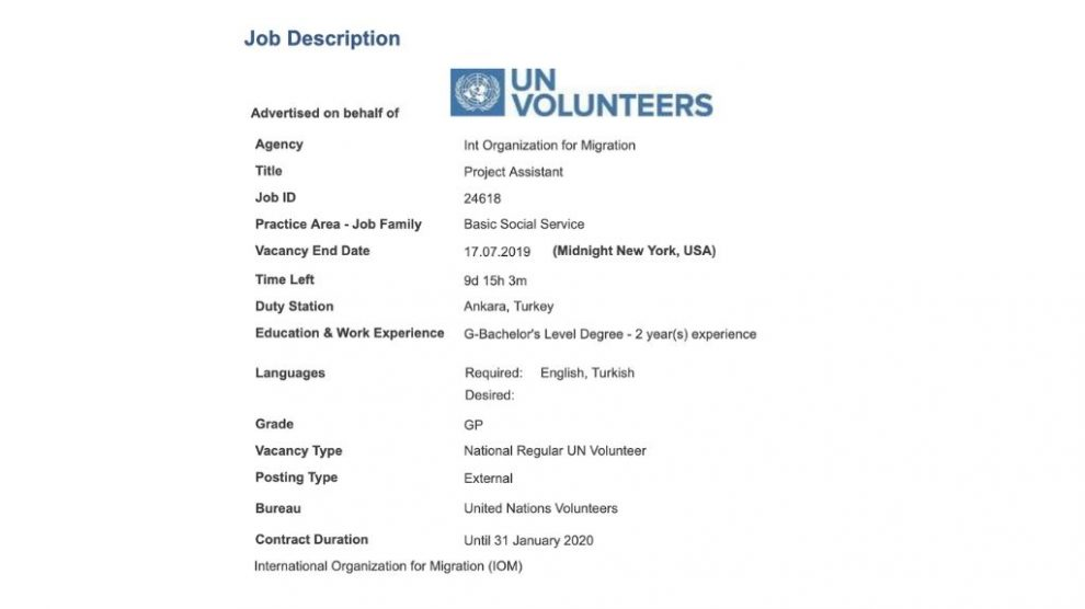 A great opportunity to become a part of Int Organization for Migration as a Project Assistant!