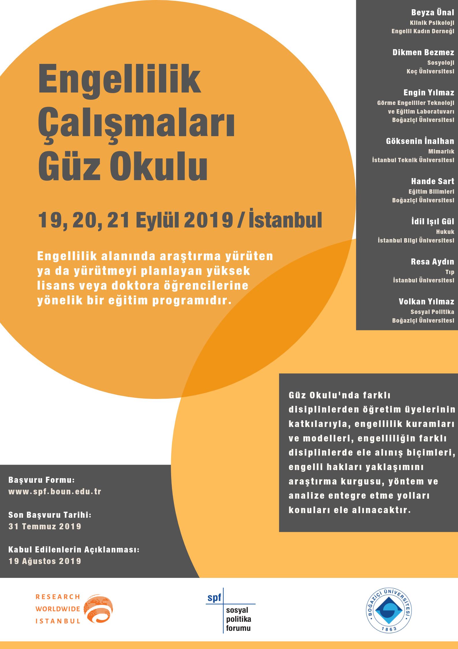Boğaziçi Üniversitesi Sosyal Politika Forumu ve Research Worldwide Istanbul ortaklığında Engellilik Çalışmaları Güz Okulu