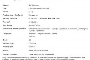 UN Volunteers New opportunity - Communications Associate