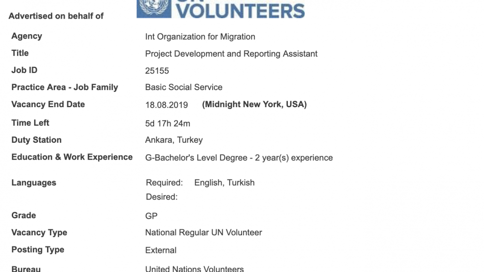 Int Organization for Migration is looking for Project Development and Reporting Assistant