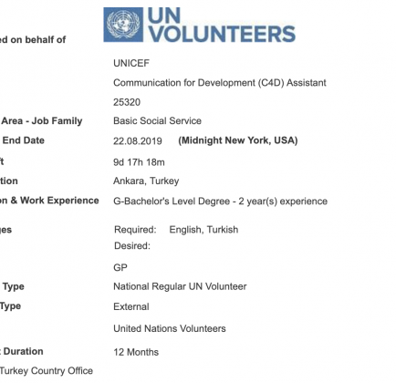 UNICEF is looking for Communication for Development (C4D) Assistant