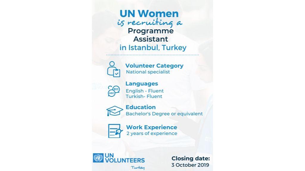 UN Women Türkiye'de İstanbul ekibine katılmak için Program Asistanı arıyor