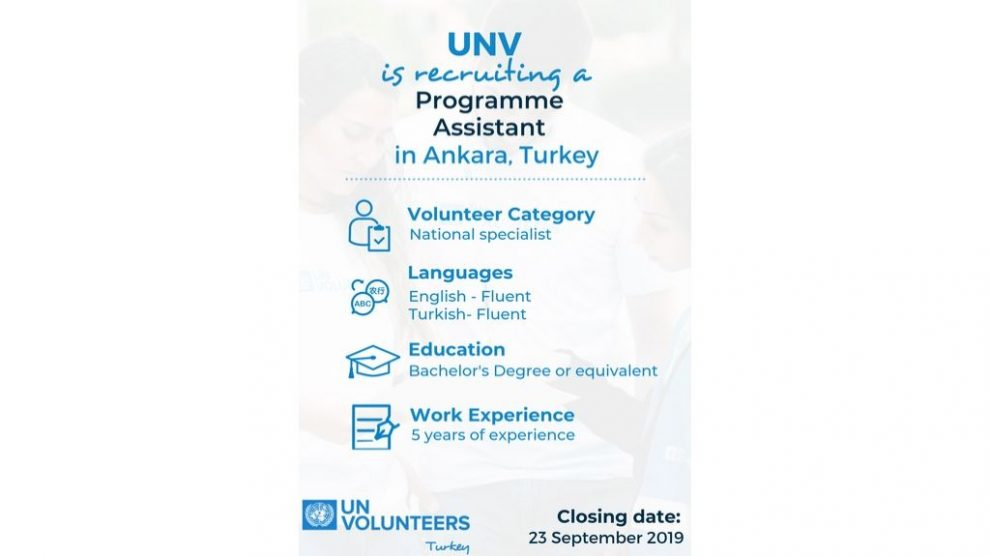 UNV is looking for Project Assistant to join their team in Ankara, Turkey