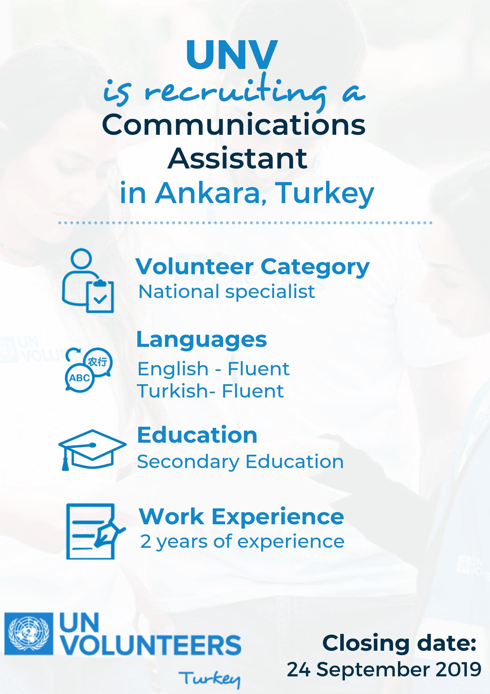 UNV Türkiye'de Ankara ekibine katılmak için İletişim Asistanı arıyor.