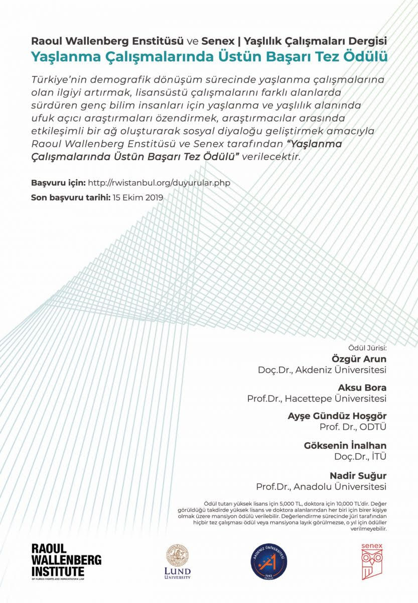 Raoul Wallenberg Enstitüsü ve Senex   Yaşlılık Çalışmaları Dergisi Yaşlanma Çalışmalarında Üstün Başarı Tez Ödülü