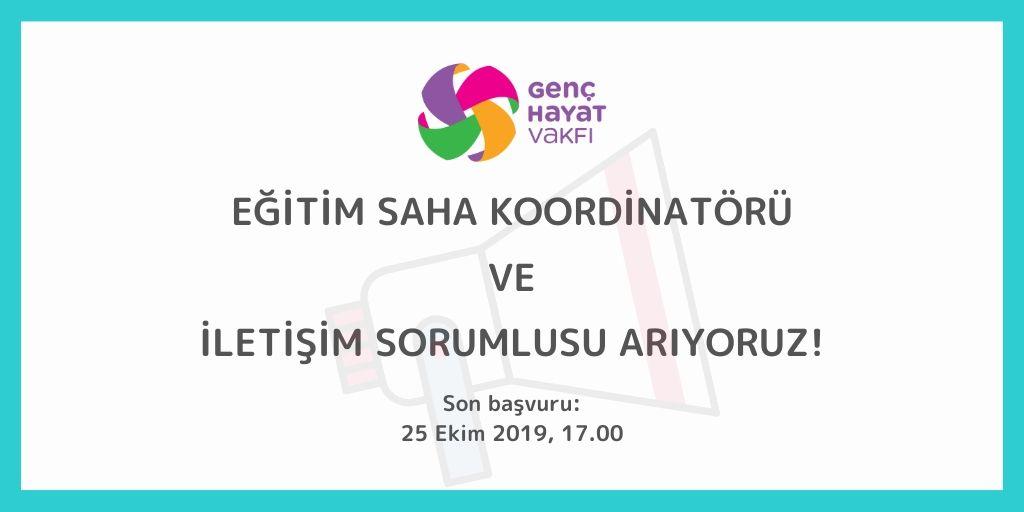 Genç Hayat Vakfı İstanbul ofisinde Eğitim Saha Koordinatörü ve İletişim Sorumlusu olarak tam zamanlı çalışacak yeni ekip arkadaşlarını arıyor!