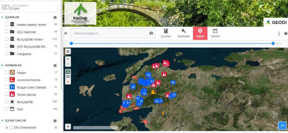 Kazdağı İnteraktif Harita Yayında