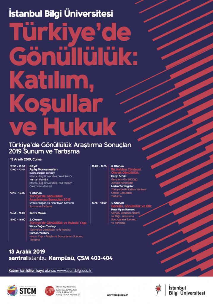 İstanbul Bilgi Üniversitesi Türkiye'de Gönüllülük: Katılım, Koşullar ve Hukuk Konferansı'na davetlisiniz.