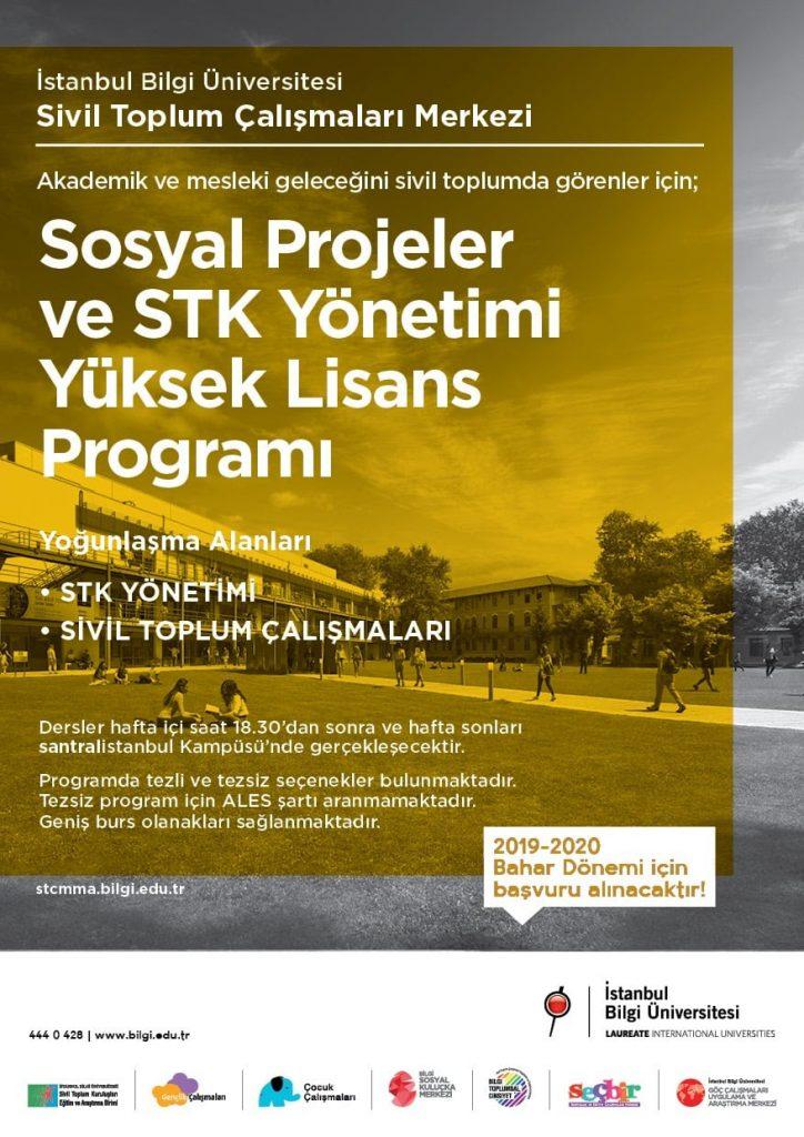 İstanbul Bilgi Üniversitesi Sosyal Projeler ve STK Yönetimi Yüksek Lisans Programı 2019-2020 Bahar Dönemi Başvuruları Açıldı!