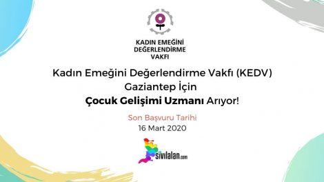 Kadın Emeğini Değerlendirme Vakfı (KEDV) Gaziantep İçin Çocuk Gelişimi Uzmanı Arıyor!