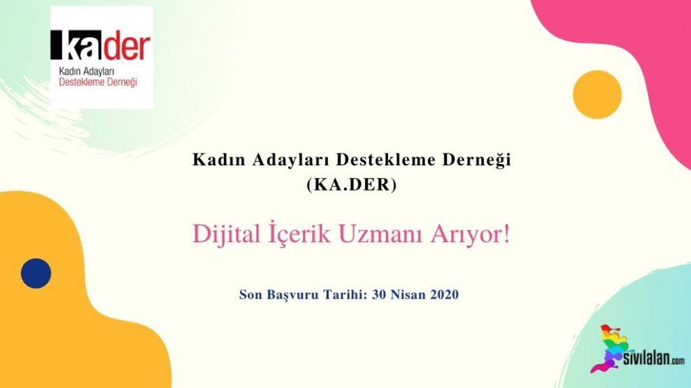 KA.DER Dijital İçerik Uzmanı Arıyor!