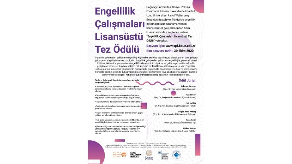 Engellilik Çalışmaları Lisansüstü Tez Ödülü