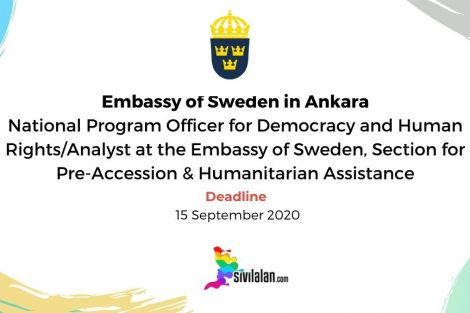 Vacancy Notice - National Program Officer for Democracy and Human Rights/Analyst at the Embassy of Sweden, Section for Pre-Accession & Humanitarian Assistance